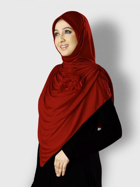 Anarkali Xtra Soft Knitted Lycra Instant Hijab In Maroon