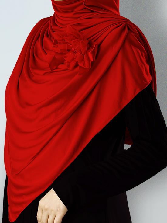Anarkali Xtra Soft Knitted Icra Instant Hijab in Red