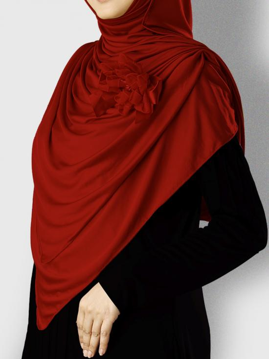 Anarkali Xtra Soft Knitted Icra Instant Hijab in Maroon