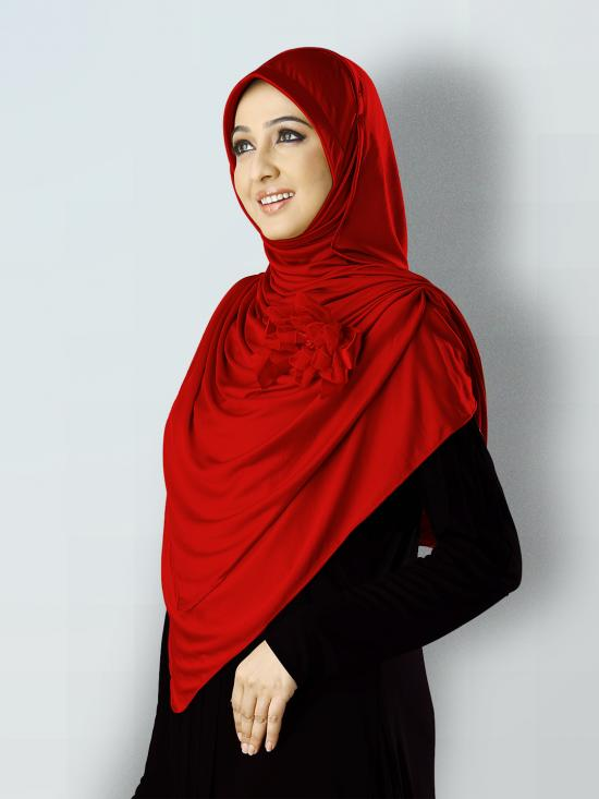 Anarkali Xtra Soft Knitted Lycra Instant Hijab In Red
