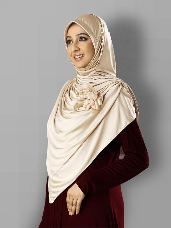 Anarkali Xtra Soft Knitted Icra Instant Hijab in Wheat