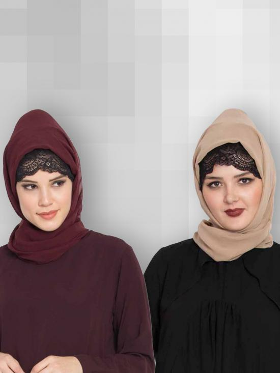 Set Of Two Stole Super Fine Georgette Hijabs In Wine And Beige