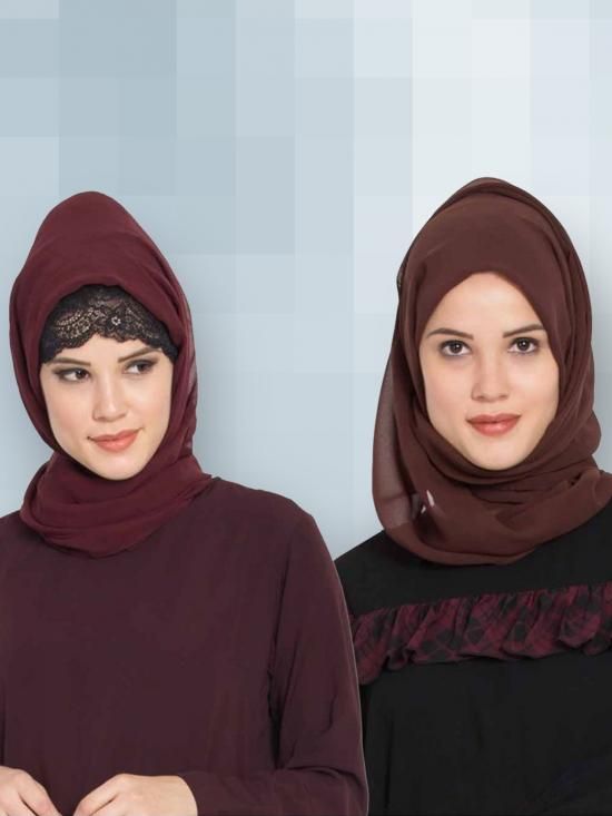Super Fine Georgette Set Of Two Stole Hijabs In Wine And Brown