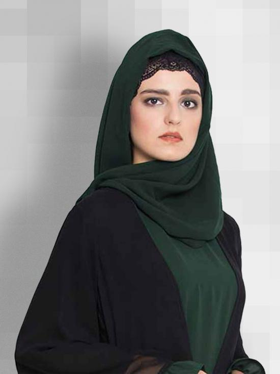Set of Two Stole Super Fine Georgette Hijabs in Bottle Green and Brown