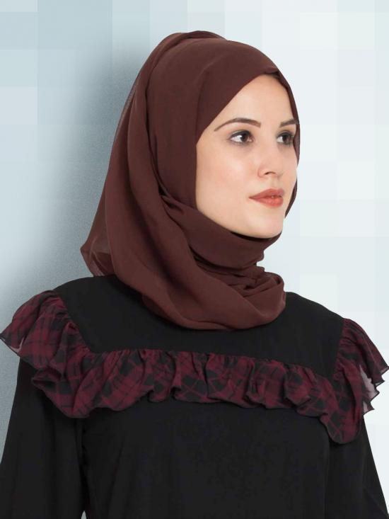 Set of Two Stole Super Fine Georgette Hijabs in Purple and Brown