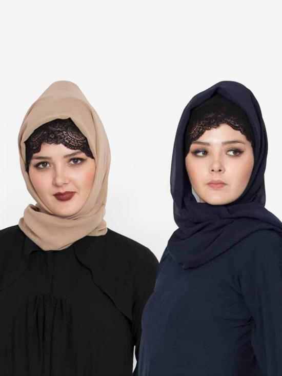 Set Of Two Stole Super Fine Georgette Hijabs In Navy Blue And Beige