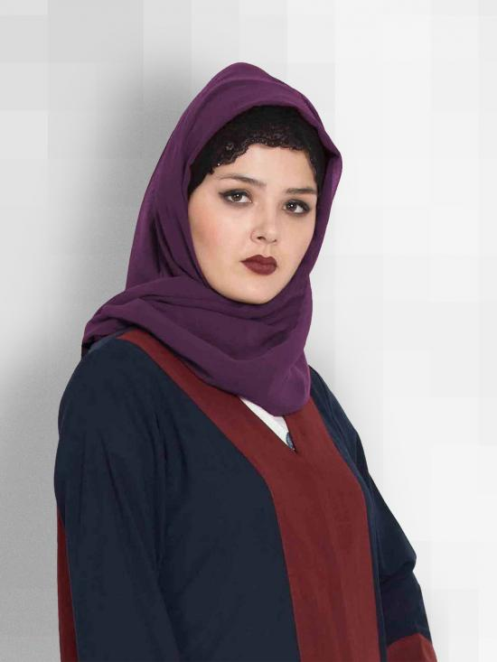 Set of Two Stole Super Fine Georgette Hijabs in Bottle Green and Purple