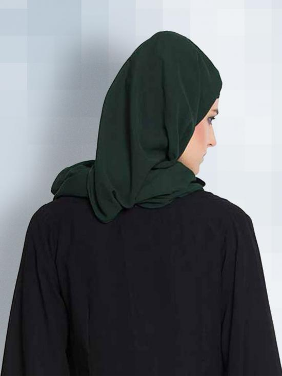 Set of Two Stole Super Fine Georgette Hijabs in Bottle Green and Beige