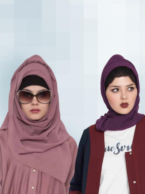Set of Two Stole Super Fine Georgette Hijabs in Purple and Mauve