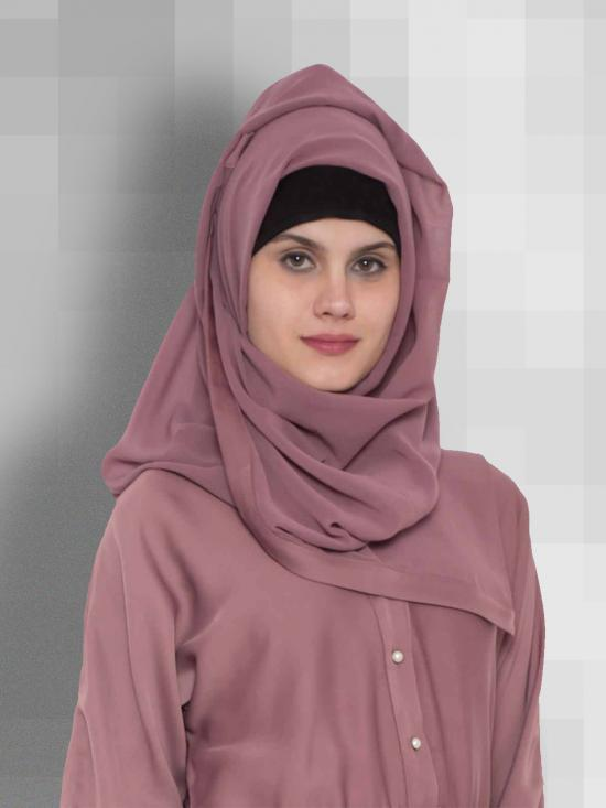 Set of Two Stole Super Fine Georgette Hijabs in Mauve and Brown