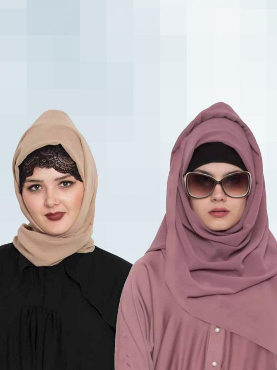 Set Of Two Stole Super Fine Georgette Hijabs In Mauve And Beige