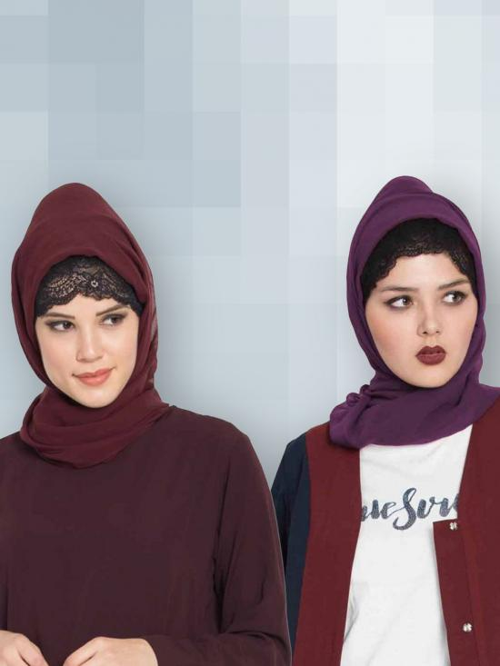 Super Fine Georgette Set Of Two Stole Hijabs In Wine And Purple