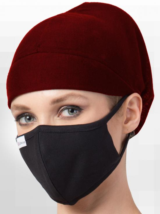 Jersey ViscoseUnder Hijab Full Cap and Mask Combo In Maroon And Black