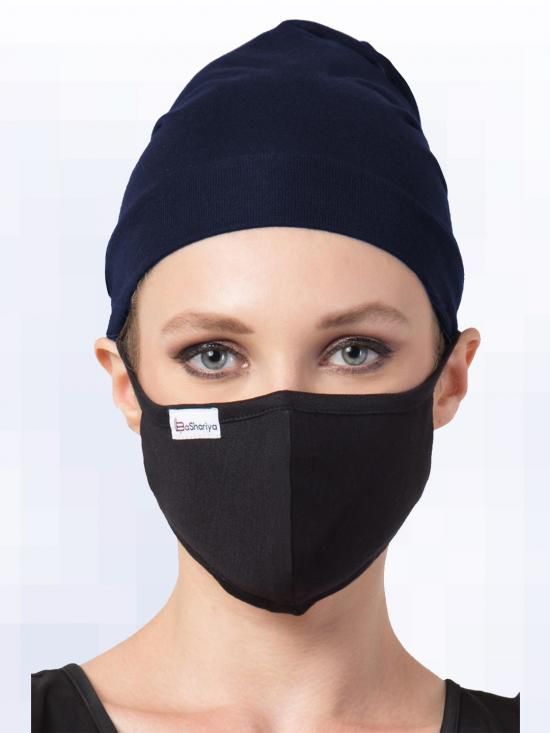 Jersey Viscose Under Hijab Bonnet Cap And Mask Combo In Navy Blue And Black