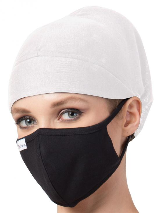 Jersey ViscoseUnder Hijab Full Cap and Mask Combo In White And Black