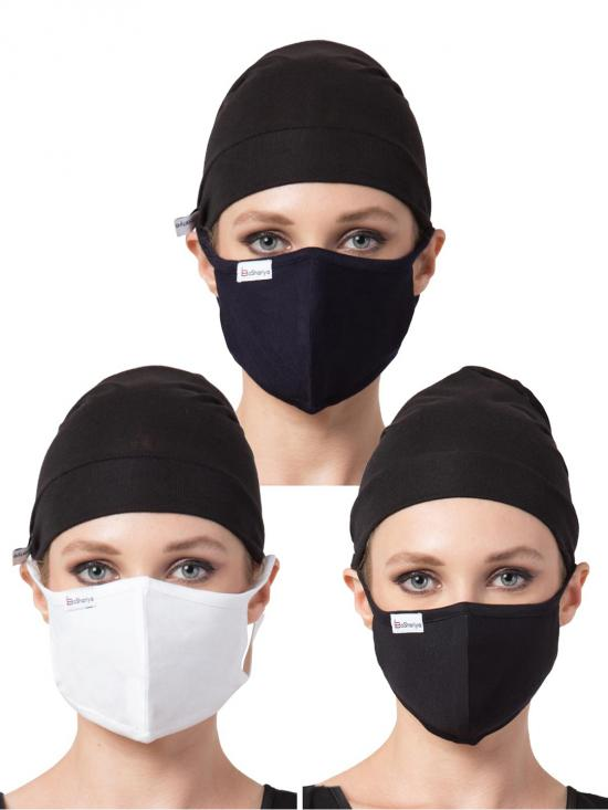 Jersey Viscose Under Hijab Cap And Mask Combo In Black And White
