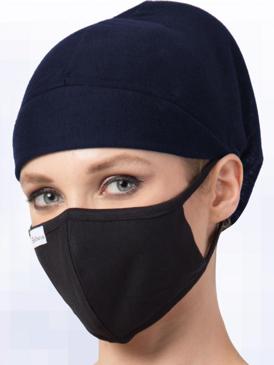 Jersey Viscose Under Hijab Full Cap and Mask Combo In Navy Blue And Black