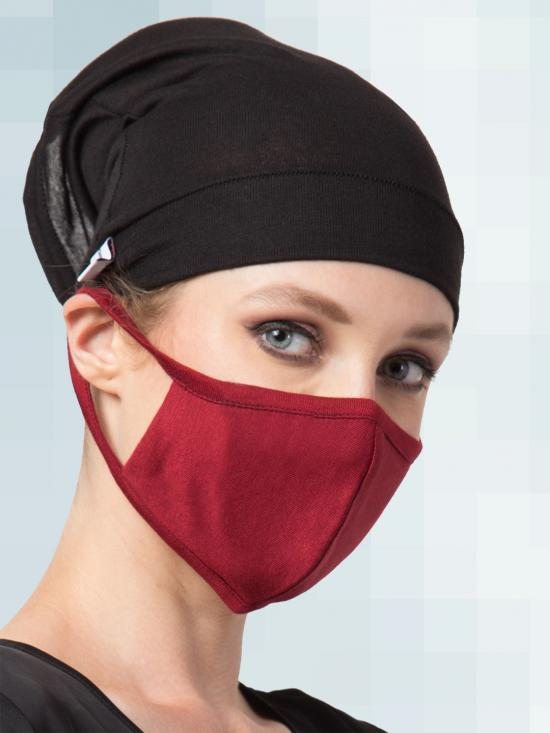 Jersey Viscose Under Hijab Bonnet Cap and Mask Combo In Black And Maroon