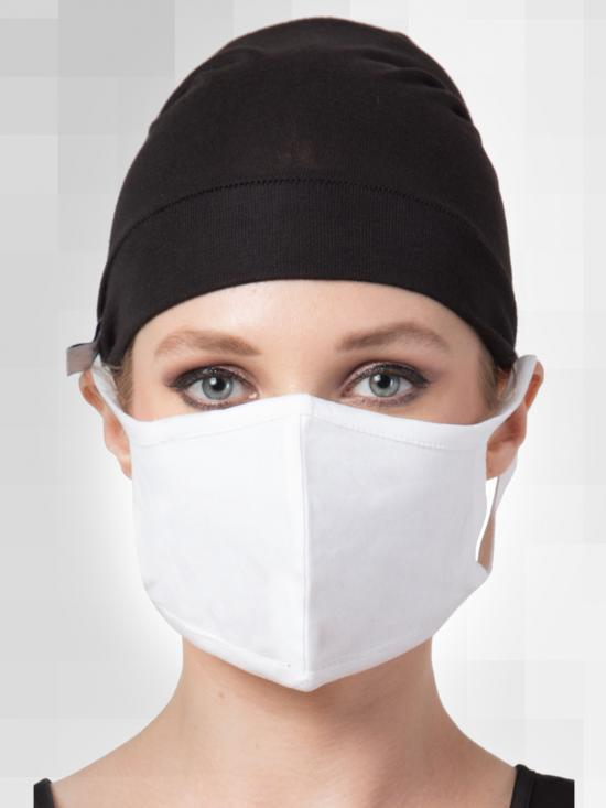 Jersey Viscose Under Hijab Bonnet Cap and Mask Combo In Black And White
