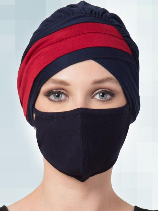 Jersey Viscose Under Hijab Turban Cap And Mask Combo In Navy Blue And Maroon