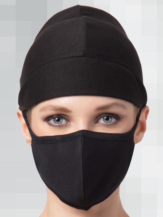 Jersey Viscose Under Hijab Full Cap and Mask Combo In Black