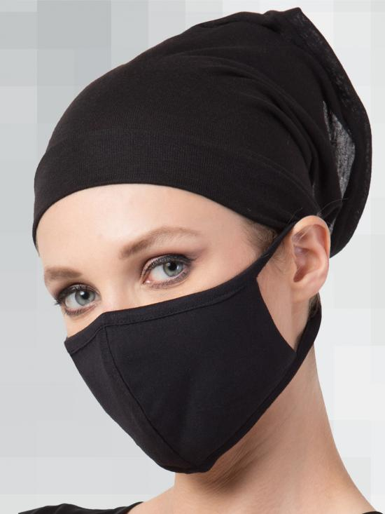 Jersey Viscose Under Hijab Bonnet Cap and Mask Combo In Black