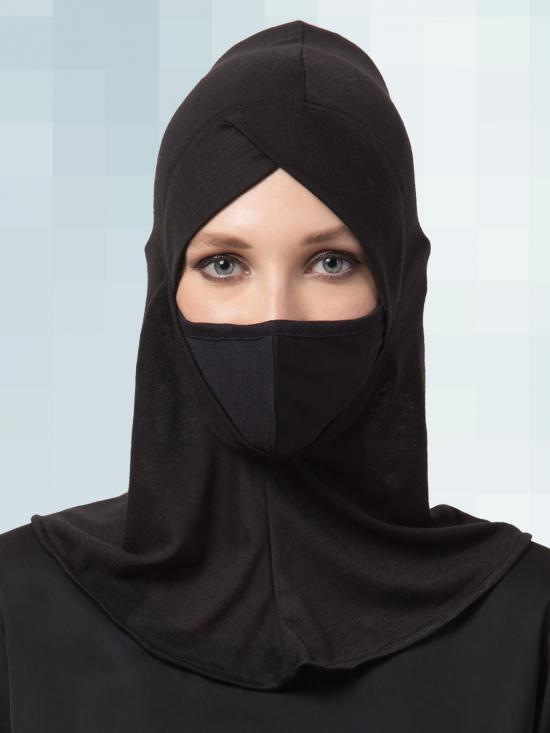 Jersey Viscose Under Hijab Ninja Cap and Mask Combo In Black
