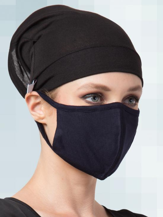 Jersey Viscose Under Hijab Bonnet Cap and Mask Combo In Black And Navy Blue