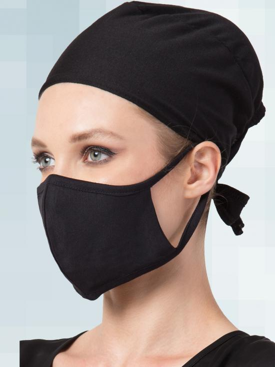 Jersey Viscose Under Hijab Tie Up Cap and Mask Combo In Black