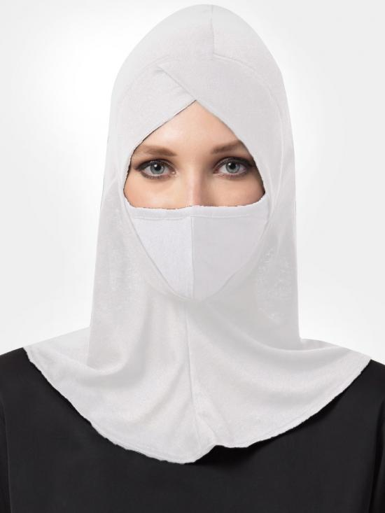 Jercy Viscose Under Hijab Ninja Cap And Mask Combo In White