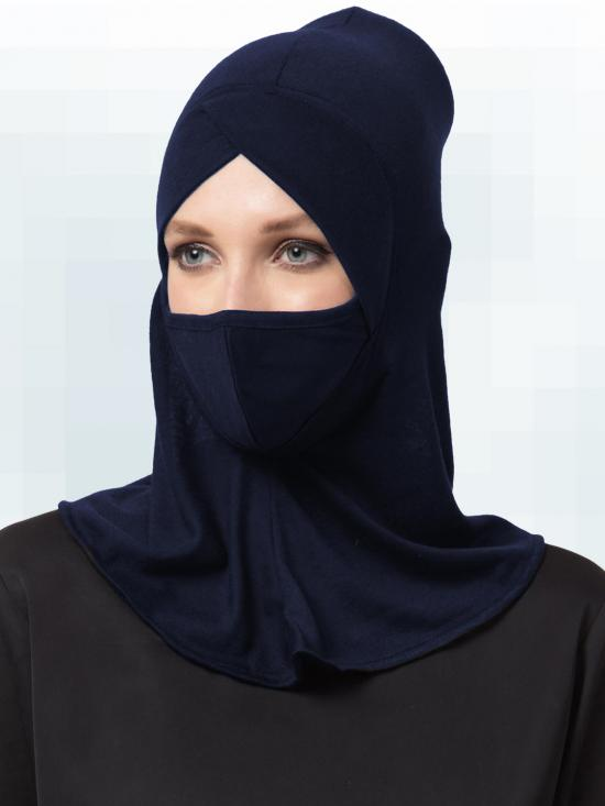 Jersey Viscose Under Hijab Ninja Cap and Mask Combo In Navy Blue