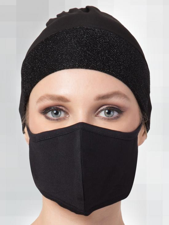 Jercy Viscose Under Hijab Shimmer Cap and Mask Combo In Black