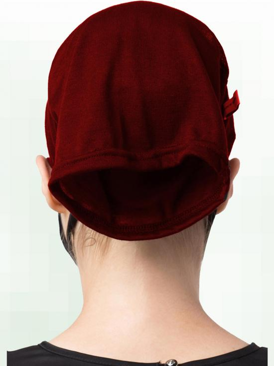 Jersey Viscose Under Hijab Bonnet Cap and Mask Combo In Maroon And Black