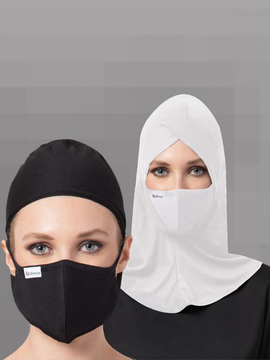 Jersey Viscose Under Hijab Cap And Mask Combo In Black