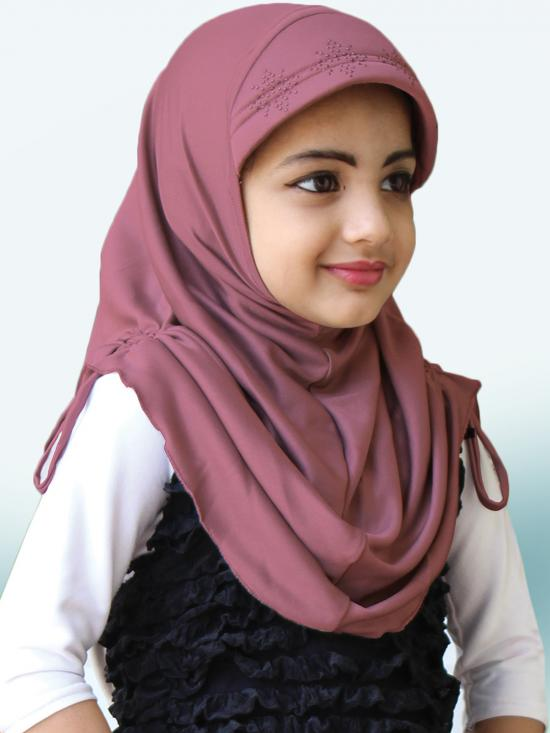 Little Heena Soft Knitted Icra Fabric Hijab In Coffee
