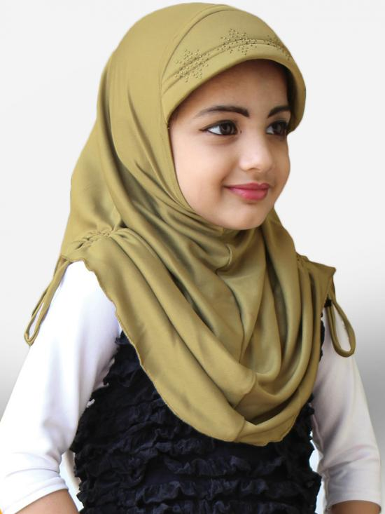Little Heena Soft Knitted Icra Fabric Hijab In Gold
