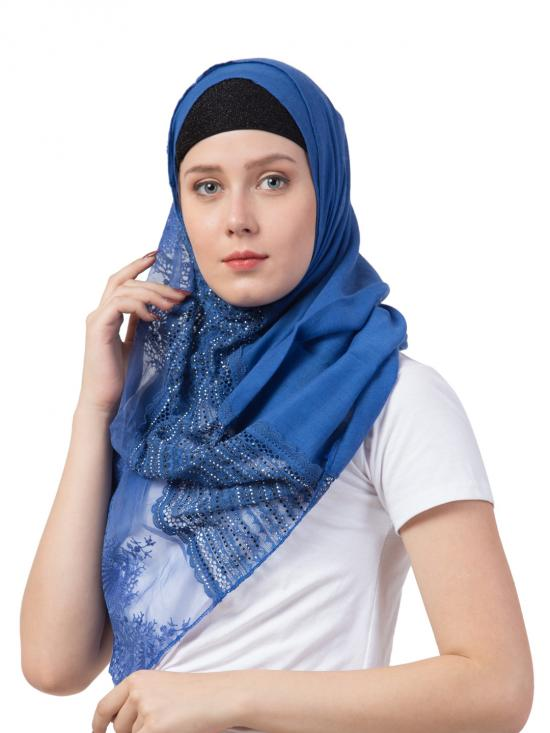 Best Selling Premium Cotton Designer Diamond Studed Hand Work Hijab In Blue