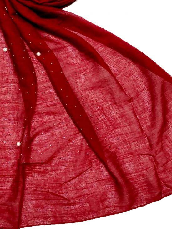 Choice Premium Rich Cotton Rain Drop Hijab In Maroon