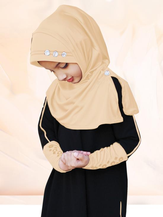 Little Riya Soft Knitted Icra Fabric Hijab In Skin Color