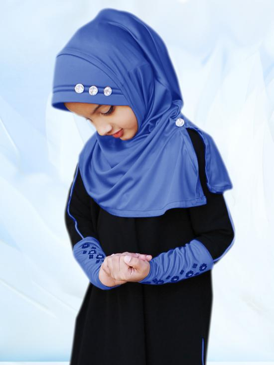 Little Riya Soft Knitted Icra Fabric Hijab In Royal Blue