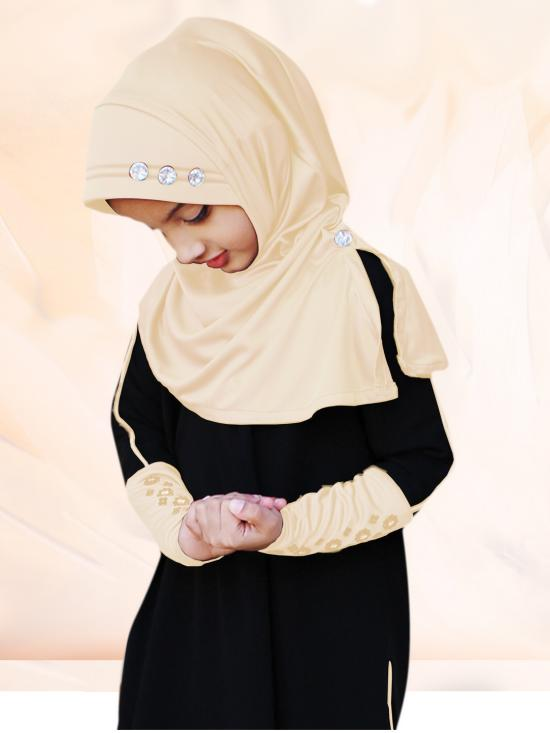 Little Riya Soft Knitted Icra Fabric Hijab In Wheat