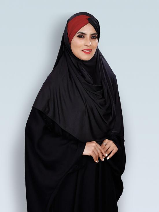 Turban Style Chiffon Lycra Tie Knot Plain Instant Hijab In Maroon