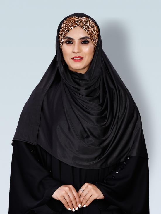 Turban Style Chiffon Lycra Tie Knot Printed Instant Hijab In Animal