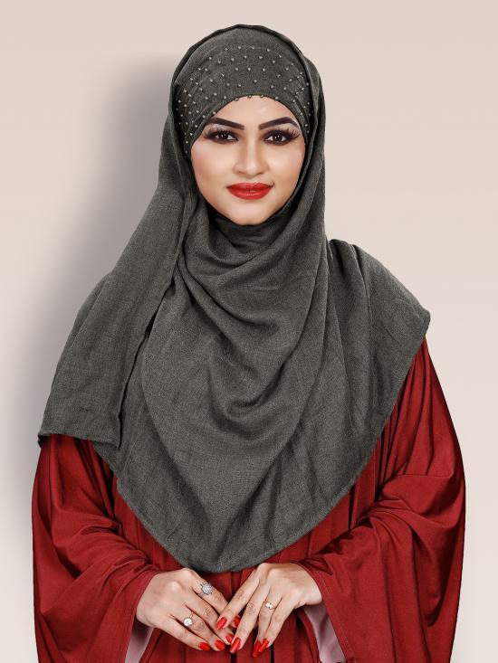 Viscose Soft Cotton Motti Patta Pearl Work Instant Hijab In Grey