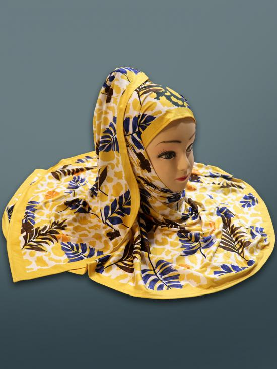 Jersey Stretchable Digital Printed Scarf Hijab In Yellow
