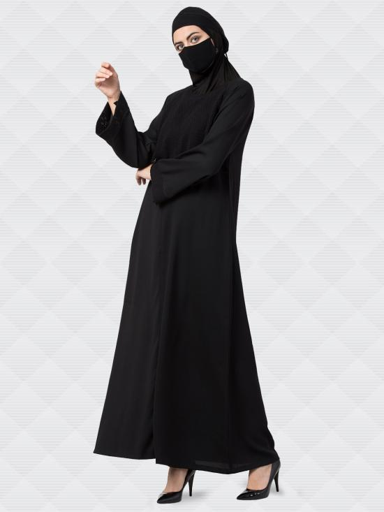 Poly Moss Abaya With Extra Layer On Yoke In Black