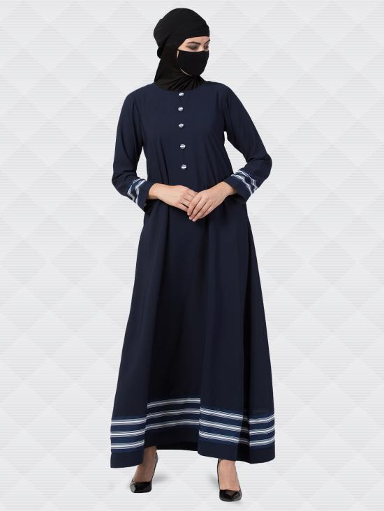Nida Matte Abaya With Striped Borders And Show Buttons In Navy Blue