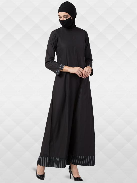 American Crepe Abaya With Stripped Bordered In Black