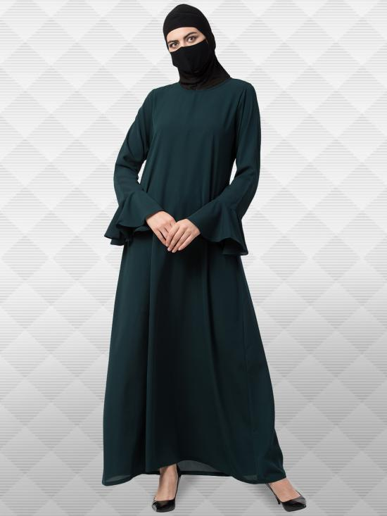 Nida Matte Abaya with Bell Sleeves in Bottle Green