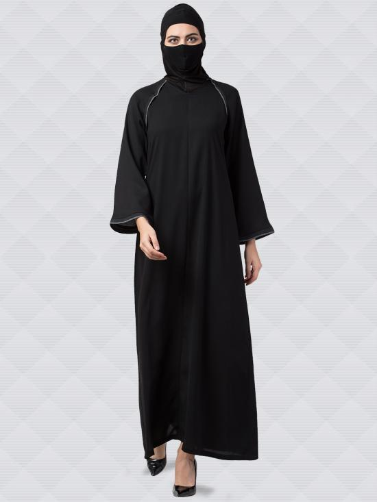 Poly Moss Abaya With Contrast Work On Shoulders And Sleeves In Black